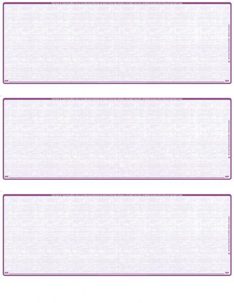 Violet Safety Blank 3 Per Page Laser Checks