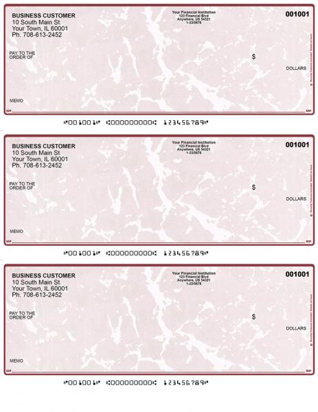 Burgundy Marble 3 Per Page Laser Checks