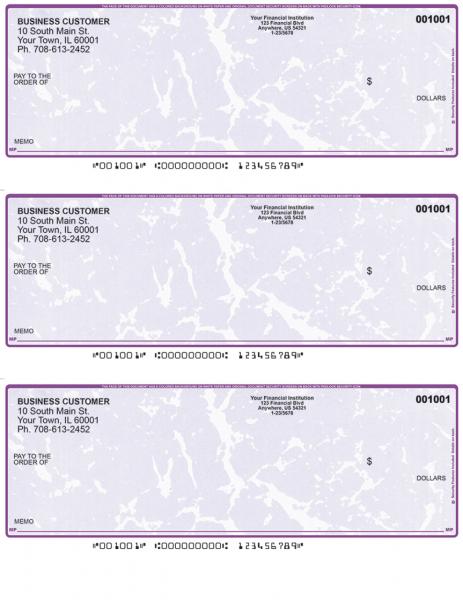 Violet Marble 3 Per Page Laser Checks
