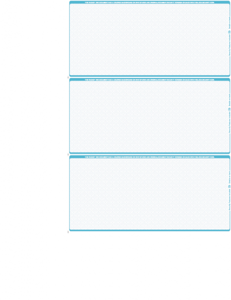 Teal Blank Safety 3 Per Page Wallet Checks