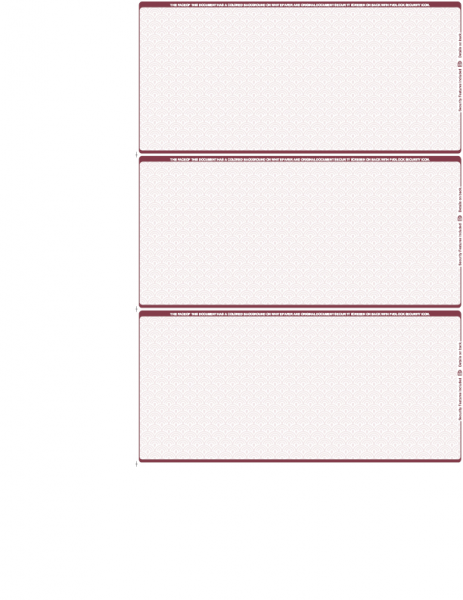 Burgundy Blank Safety 3 Per Page Wallet Checks