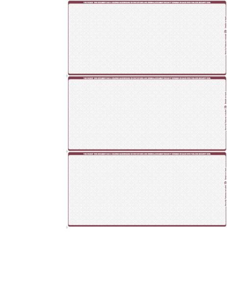 Wallstreet Blank 3 Per Page Wallet Checks