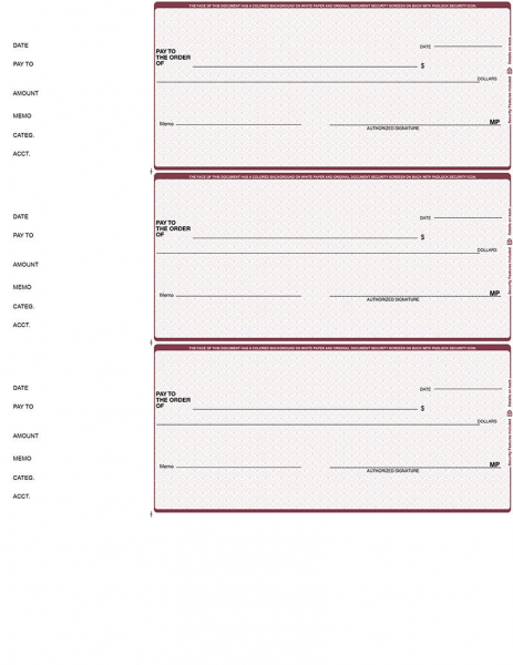 Burgundy Safety 3 Per Page Wallet Checks