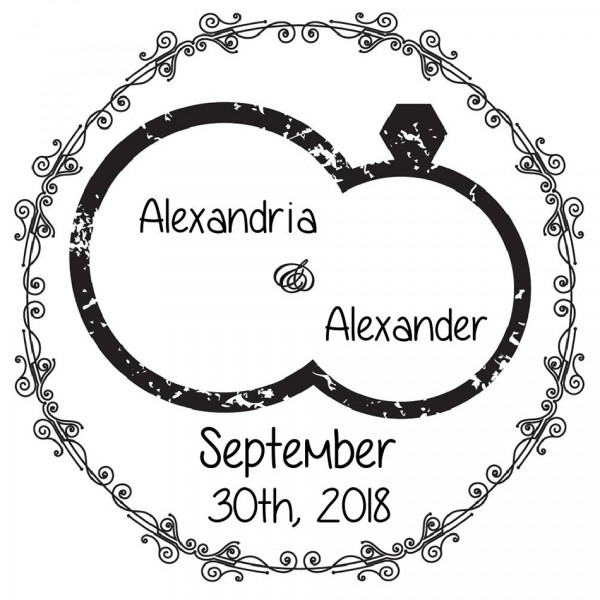 Designer Save The Date Round Stamp