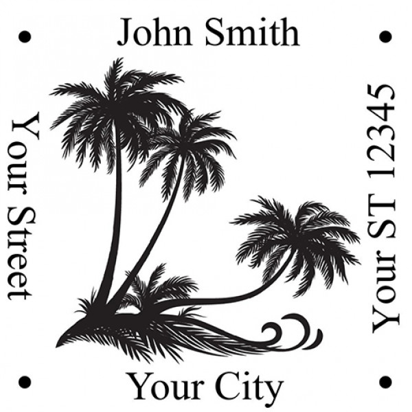 Designer Palm Trees Square Stamp